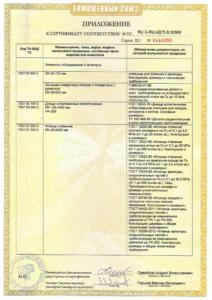 Сертификат соответствия таможенного союза: приложение