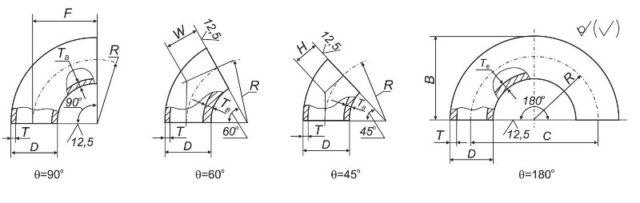Конструкция и замеры отвода ГОСТ 17375-2001