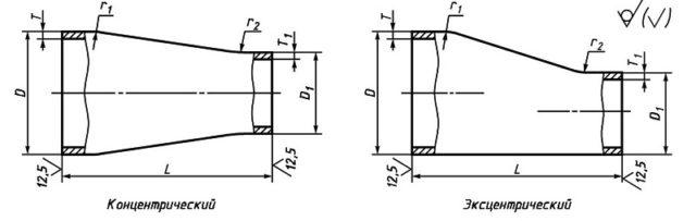 Конструкция и размеры переходов ГОСТ 17378-2001