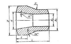 Конструкция и размеры точеных переходов ГОСТ 22826-83