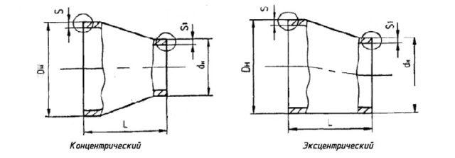 Конструкция и размеры переходов ОСТ 34.10.700-97