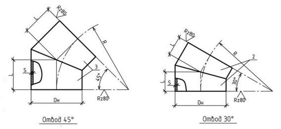 Конструкция и размеры отвода ОСТ 36-21-77 (45 и 30 градусов)