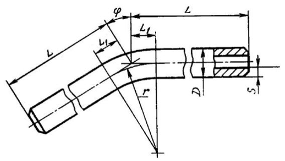 Конструкция и размеры гнутых отводов ГОСТ 22793-83
