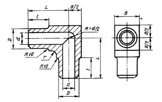 Конструкция и размеры точеного отвода и угольника по ГОСТ 22820-83