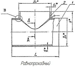Конструкция и размеры тройников ОСТ 34.10.762-97