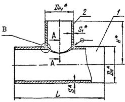 Конструкция и размеры тройников ОСТ 34.10.764-97