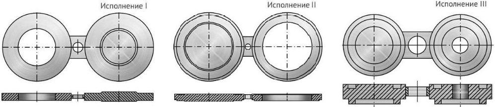 Конструкция и размеры поворотных заглушек Т-ММ-25-01-06