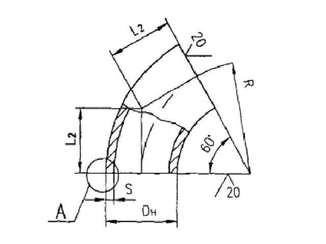 Схема и чертеж отводов 60 градусов крутоизогнутых ОСТ 34.10.699-97