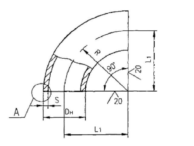 Схема и чертеж отводов 90 градусов крутоизогнутых ОСТ 34.10.699-97
