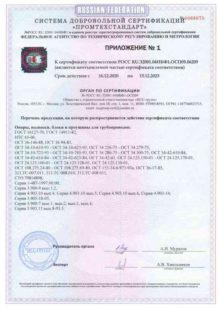 Приложение к сертификату на опоры